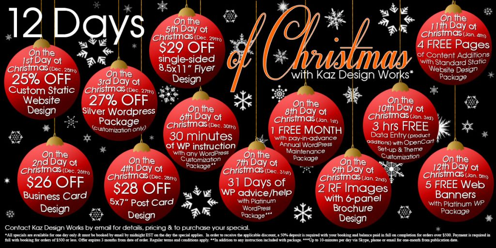 12 Days of Christmas with Kaz Design Works from December 25th 2014 to January 5th 2015