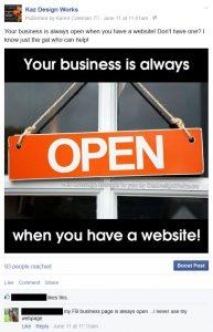 Comparison: Facebook vs Your Website