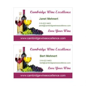 Cambridge Wine Excellence business card design