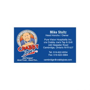 Crabby Joe's business card