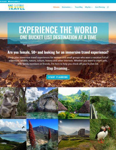Website for my new travel business, Kaz Custom Travel